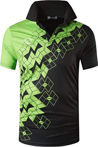 jeansian Herren Polo-Shirt für Sport im Freien, schnell trocknend, kurzärmelig. - Grün - X-Groß