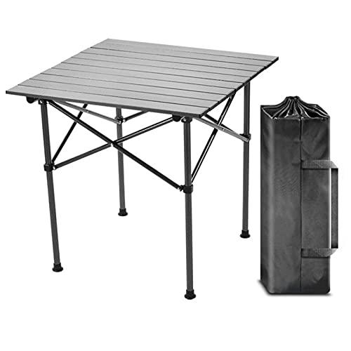 SUPERFIVE Mesa de camping plegable, ligera, resistente a la intemperie, mesa de jardín con bolsillo, 53 x 53 cm, plegable, de aluminio, ideal como mesa auxiliar para jardín, salón, camping, picnic