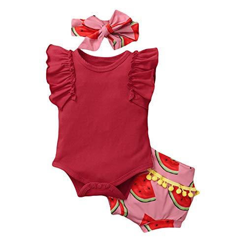Neugeborenes Baby Mädchen Rüschen Ärmellos Einteiler Wassermelone Drucken Jumpsuit Fransen Shorts Sommer Anzug + Stirnband Anzug Gr. 86, rot