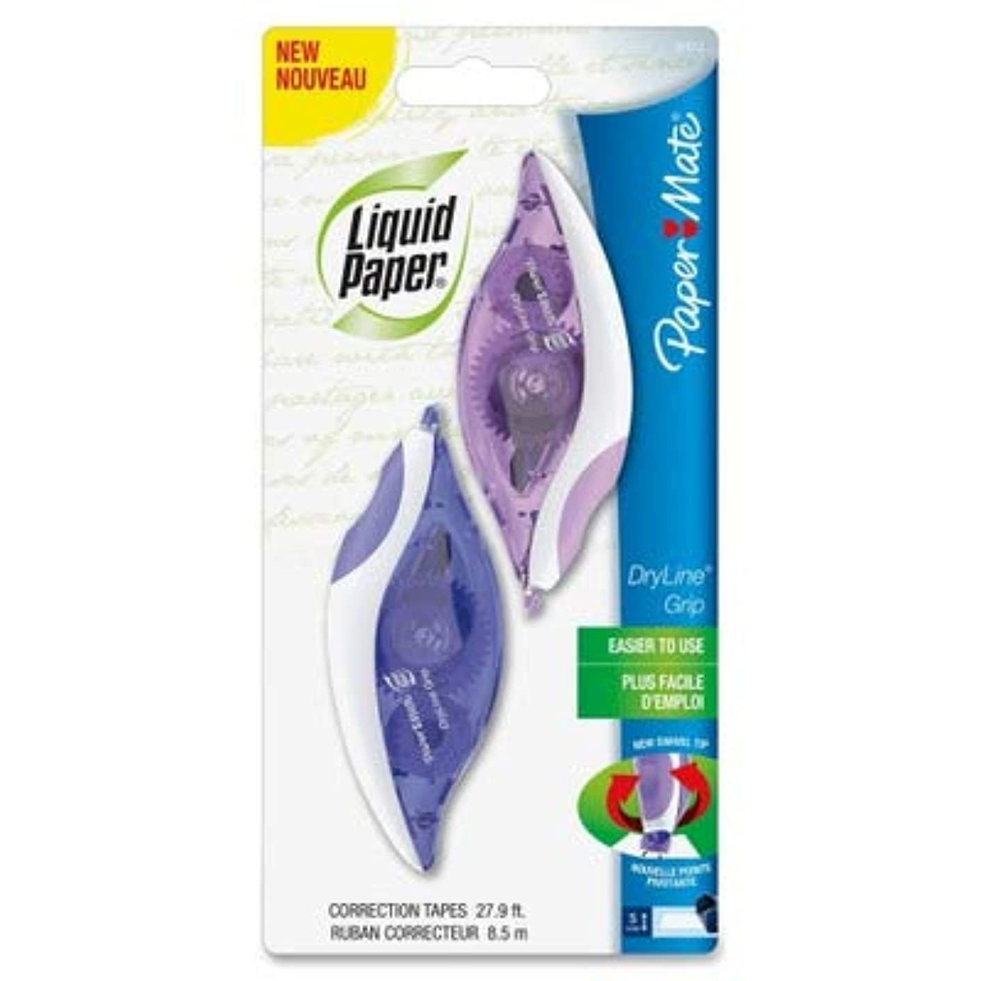 PAPERMATE 87813 DryLine Grip Correction Tape, 1/5quot; x 335quot, Blue/Purple Dispensers, 2/Pack