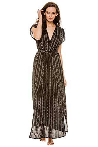 Elan International Women's Cottons V-Neck Long Caftan Swim Cover Up Black M