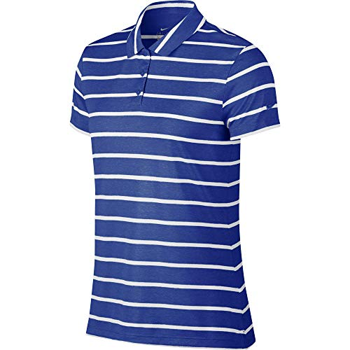 Nike Women's Dri-FIT Striped Golf Polo, Dri-FIT Polo Shirts for Women with Vented Hems, Game Royal/White, XS