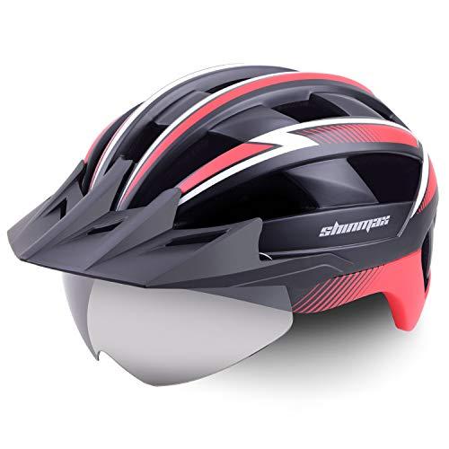Shinmax Bike Helmet,Bicycle Helmet with USB Rechargeable LED Light Adult Cycling Helmet/Adjustable Size Detachable Visor&Removable Magnetic Goggles for Men Women Road Helmet SM-B23