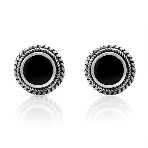 Women's 925 Sterling Silver Round Braided Gemstone Post Stud Earrings, 9mm, Black Onyx Gemstone