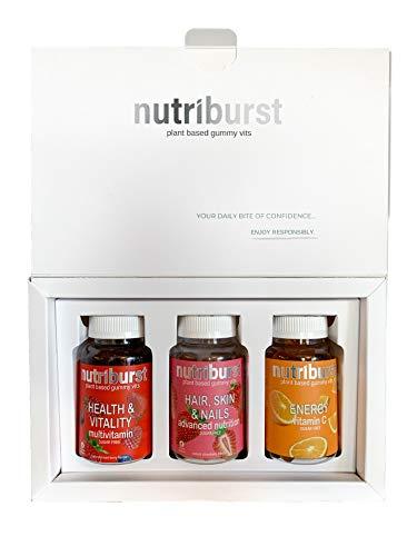 NUTRIBURST | Gummy Vitamins Selection Gift Set | Plant Based, Sugar Free Supplements | 3 x 60s Gummies: VIT C + Biotin VIT E + Multivitamins A B5 B12 B6 VIT D and Zinc
