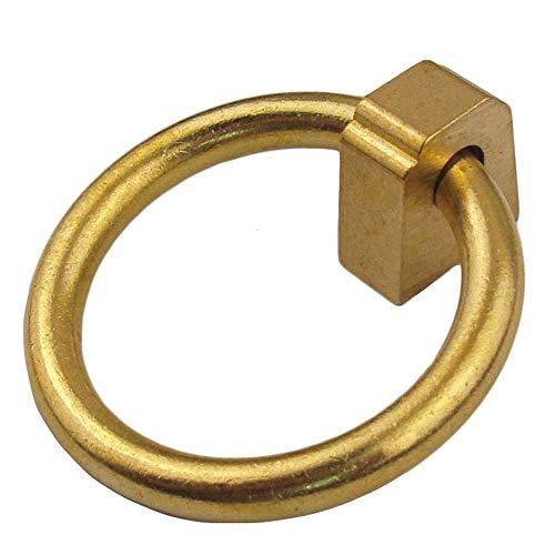 LHQ-HQ Set / 2pcs 50mm Ronda de latón Diámetro exterior Muebles Asas tirones, antiguo retro vendimia caída de un círculo de bronce gabinete manijas del cajón tirones, tornillos incluidos (color: oro /