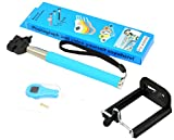 Apexel Extendable Selfie Handheld Stick Monopod + Universal Clip +Remote Control Shutter Cable for Android Phone Blue