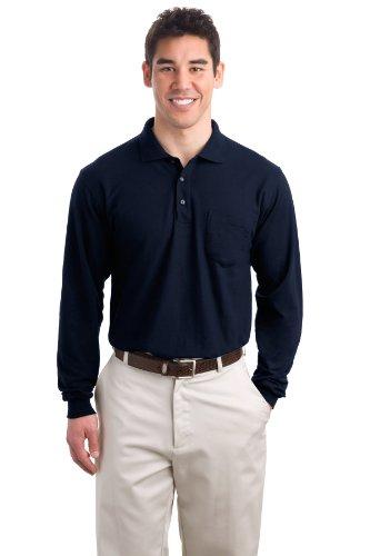 Camisa polo masculina Port Authority manga longa com toque de seda e bolso, Azul marino, 3X-Large