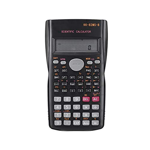 UKtrade Pantalla de 2 líneas de pantalla panorámica HD de 12 dígitos Calculadora científica de ingeniería con 240 calculadoras de función científica adecuadas para negocios escolares (negro)