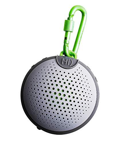 Boompods 'Aquablaster Alexa Enabled BT Speaker' tragbarer wasserdichter Bluetooth-Lautsprecher mit Kabrabiner in Grau / Grün