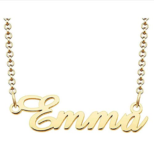 Personalized Name Necklace Custom Made Pendant Gold Plated Letter Necklaces Chain Jewelry Gift For Women Emma Gold