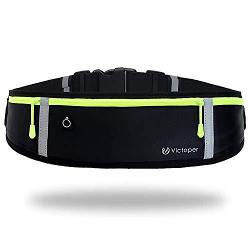 Marsupio Running, impermeabile, per allenamenti, viaggi e altro ancora, con strisce riflettenti e foro per cuffie, regolabile per tutti i tipi di telefoni