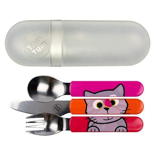 TUM TUM - Cubertería infantil con funda de viaje, juego de cubiertos para niños, sin BPA (Gato)