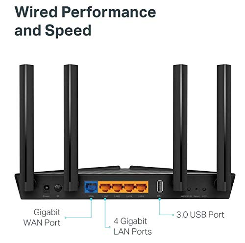 Tp-link archer ax50 ax3000 wireless dual-band gigabit router (renewed) 2 jd power award ---highest in customer satisfaction for wireless routers 2017 and 2019 wi-fi 6 router: wi-fi 6(802. 11ax) technology achieves up to 3x faster speeds, 4x capacity and 75% lower latency compared to the previous generation of wi-fi 5 while the power of intel's dual-core cpu ensures your experience is smooth and buffer-free next-gen 3 gaps speeds: 4-stream dual band router reaches incredible speeds up to 3 gaps (2402 mbps on 5 ghz band and 574 mbps on 2. 4 ghz band) for faster streaming and gaming like you have never experienced before.