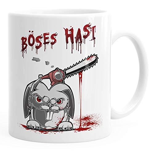 MoonWorks® Kaffee-Tasse Spruch böses Hasi Kettensäge Motiv Horror Bürotasse lustige Kaffeebecher weiß Keramik-Tasse