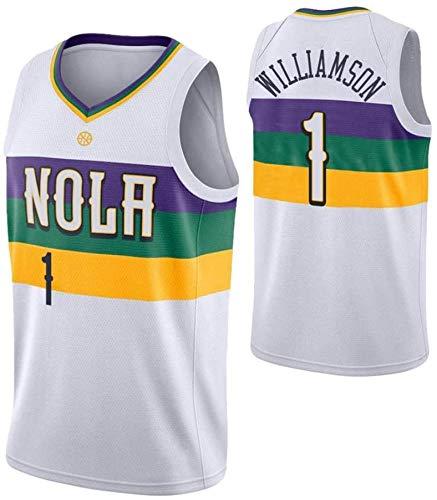 WSWZ Maglie da Basket - Maglia da Uomo New Orleans Pelicans 1# Zion Williamson - Maglietta Unisex Comoda da Basket Sportiva Canotta,XL(180~185CM/85~95KG)