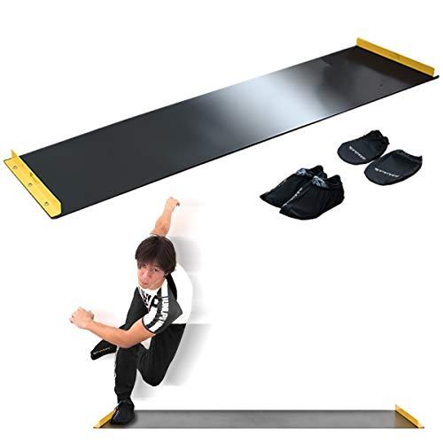 股関節・体重移動のマスターに最適 FIELDOOR スライドボード 幅180cm シューズカバー&ハンドカバー付