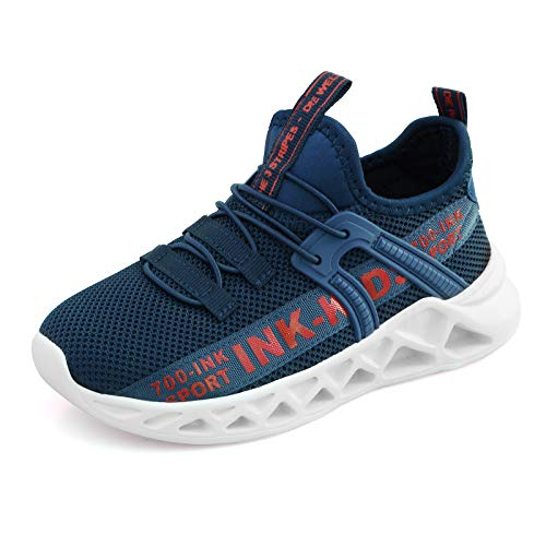 YUHUAWYH Kinder Schuhe Jungen Sportschuhe Mesh Turnschuhe Jungen Hallenschuhe Laufschuhe Leicht Atmungsaktiv Kinder Low-Top Sneakers, Dunkelblau, 26 EU (27 Etikette)