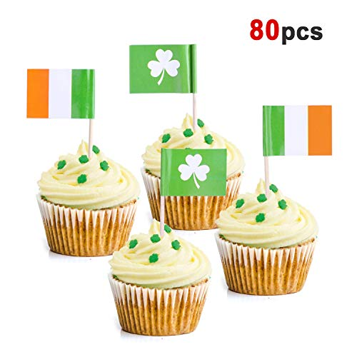 Howaf 80 Stück St.Patricks Day Kleeblatt Torte Cupcake Toppers Cupcake Tortenstecker Muffin deko Kuchen Dekoration Supplies