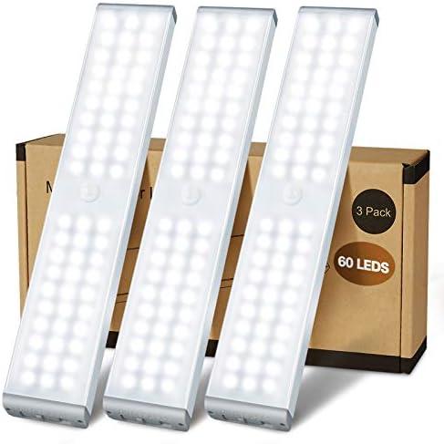LED Closet Light 60 LED Newest Version 4 Modes Rechargeable Motion Sensor Closet Light Under product image
