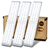 LED Closet Light, 60 LED Newest Version 4 Modes Rechargeable Motion Sensor Closet Light Under Cabinet Lighting, Dimmable Magnetic Wireless Stick on Light for Stairs Wardrobe Kitchen Hallway, 3 Pack