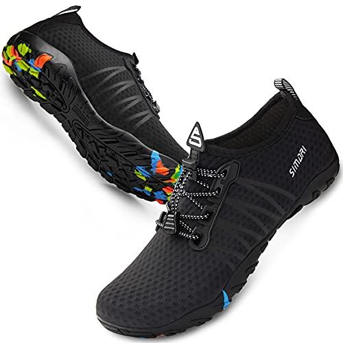 SIMARI Unisex Water Sports Shoes Barefoot Slip-on Indoor Outdoor Sports Activities Summer 206 Black 7W/6M