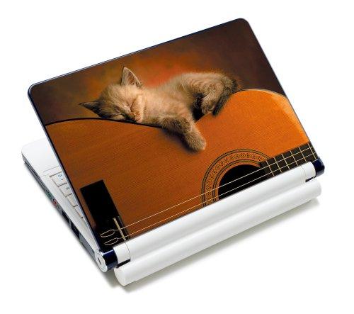 Luxburg® Design Aufkleber Schutzfolie Skin Sticker für Notebook Laptop 12 / 13 / 14 / 15 Zoll, Motiv: Katze auf Gitarre