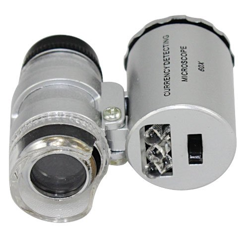NYKKOLA New Silver 60X Loupe Portable Mini Pocket LED Light Microscope Magnifier