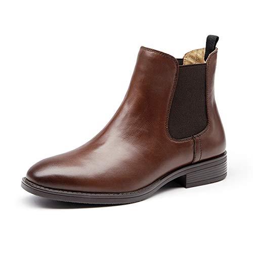[ZUYEE] (ズイェ) レディース サイドゴアブーツ 本革 フラット ショートブーツ おしゃれ 歩きやすい ブラウン 24.5cm