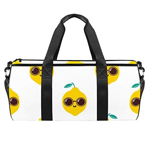 Hombro Handy Sports Gym Bags Travel Duffle Totes Bag para hombres mujeres Cool Lemon con gafas de sol