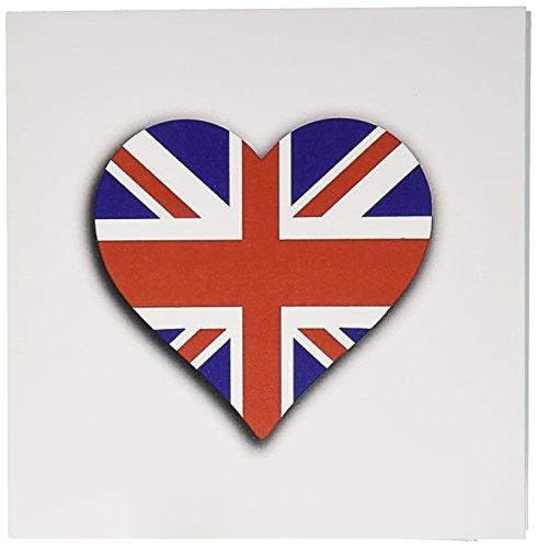 3drose Britse vlag hart UK Union Jack voor Engeland en Groot-Brittannië fans wenskaarten, set 12 (GC 184870 2)
