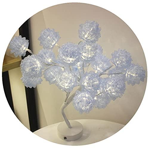 Lámpara De Mesa Para Árbol, Material De Hilo De Nieve, Funciona Con Batería O USB, Para Decoración De Interiores, Fiesta, Boda, Regalo Para Niños,Azul