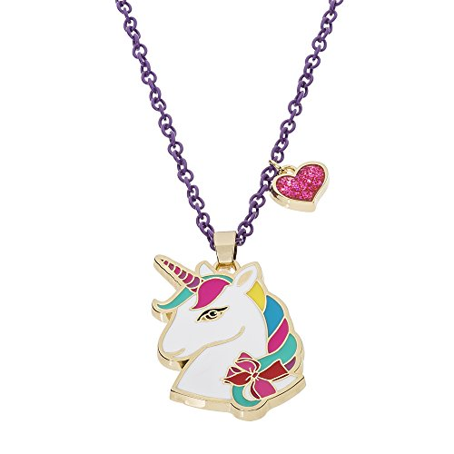 "Jojo Siwa Unicorn with Heart Charm Pendant Necklace, 16""+3"", Multi, Medium (NH00674YL-16)"