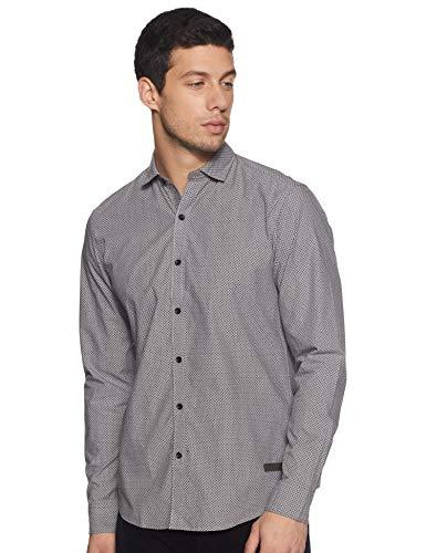 John Players Men's Solid Slim Fit Casual Shirt (ZCMWSHA18005900_Light Gray_40)