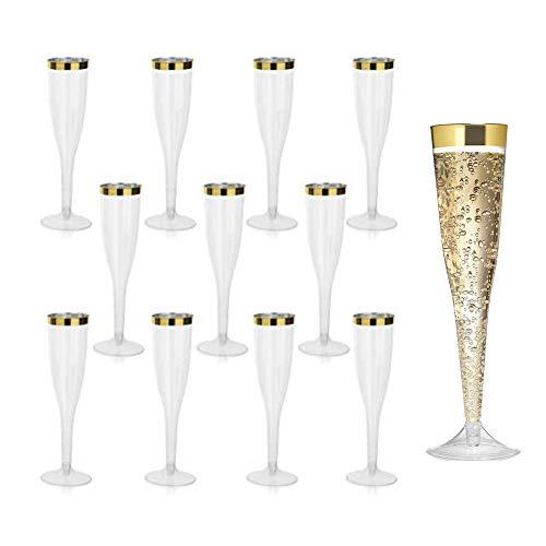 Cabina Home 30 copas de champán de plástico transparente de 5.5 onzas, vasos desechables para tostar, copas para fiestas, bodas, reuniones familiares