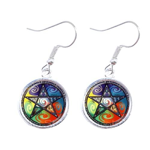 Pendientes de cabujón de cristal satánico de pentáculo místico con cristales góticos Wiccan Star Accesorios para orar por la felicidad regalo para amigos