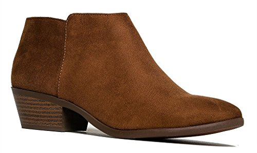 Soda Women's Round Toe Faux Suede Stacked Heel Western Ankle Bootie Navy (9 M US, Cognac Faux Suede