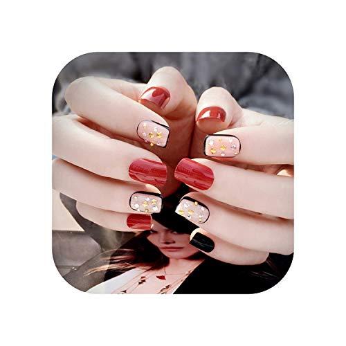 Noir + Rouge Acrylique Nail Conseils Courts Faux Ongles Art Ongles 24Pcs / Set C67-