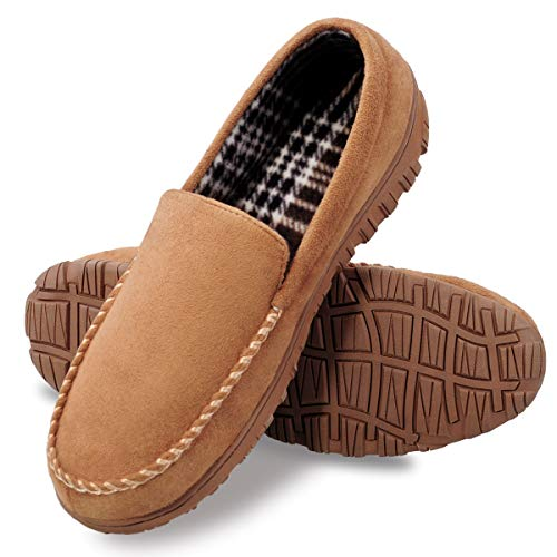 MIXIN Men's Cozy Memory Foam Moccasin Slippers Light Brown Size 12 M