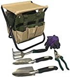 Gardening Tools Set Gardening Stool Set Organizer | Gardening Chair | Gardener Tool Bag Seat | Digging Claw Garden | Top Gardening Gifts for Mom and Dad Includes Aluminum Tools Bench