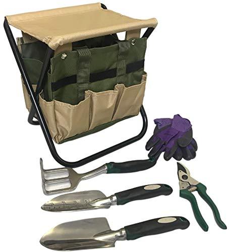 Gardening Tools Set Gardening Stool Set Organizer | Gardening Chair | Gardener Tool Bag Seat | Digging Claw Garden | Top Gardening Gifts for Mom and Dad Includes Aluminum Tools Bench