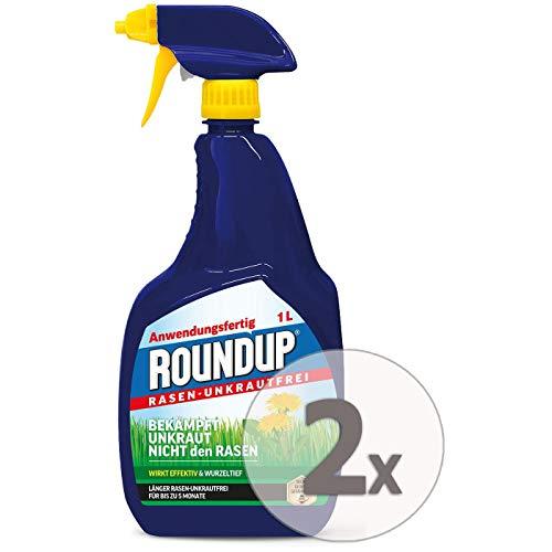 Roundup Rasen-Unkrautfrei AF Anwendungsfertig Unkrautvernichter Sparpaket, 2 x 1 Liter + Zeckenzange mit Lupe