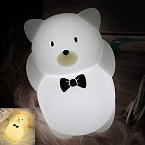 LED Kids Night Light, Cute Puppy/Elk/Bird Soft Silicone Baby Nursery Lamp-USB Rechargeable, Color Temperature and Brightness Adjustable, White and Warm can be Switched, Timing Function