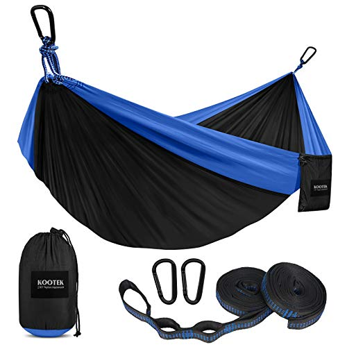 Kootek Camping Hammock Double & Single Portable Hammocks with 2 Tree Straps, Lightweight Nylon Parachute Hammocks for Backpacking, Travel, Beach, Backyard, Patio, Hiking (Black & Blue, Large)