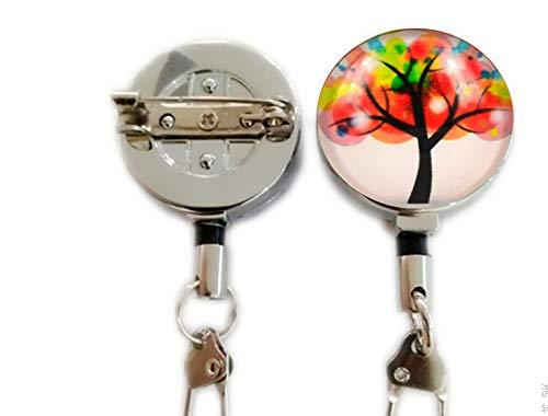 bab Fashion Collares de joyería para Mujeres Cute The Tree of Life Cabujón Colgante de Cristal 2 retráctil Badge Holder mosquetón Carrete Clip en ID Tarjeteros