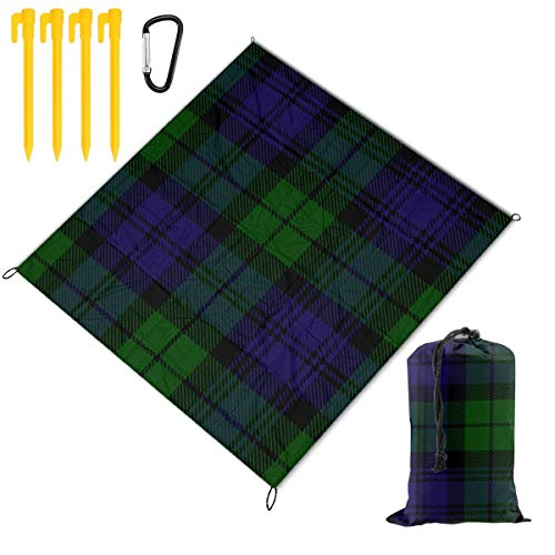 Nonebrand Picnic Blanket Black Watch Tartan Plaid Portable Lightweight Waterproof Sandproof Pocket Beach Blanket Large Picnic Mat and for Outdoor Travel Camping Hiking Activities