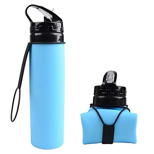 Newsihui botella de agua plegable, a prueba de fugas, tapa de rosca sin BPA, botella de agua de silicona plegable para viajes, gimnasio, camping, deporte, resistente al calor de -40 C a 100 C – 20 oz (600 ml), color azul