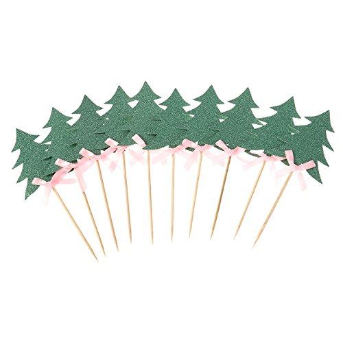 Tinksky 10 PCS Cupcake Topper Alberi decorativi di Natale Cupcake Picks Bowknot per la decorazione del partito (verde)