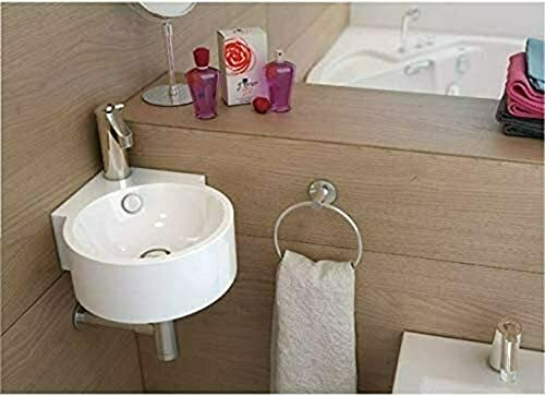 Waschbecken Design Handwaschbecken Eckwaschbecken klein 450 * 330 * 125 mm in Hochglanz weiß, mit Lotus Effekt (0034) von Art-of-Baan®