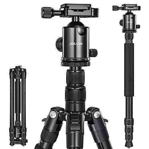 "Joilcan 80-inch Tripod for Camera, Aluminum Tripod for DSLR,Monopod, Lightweight Tripod with 360 Degree Ball Head Stable for Travel and Work 18.5""-80"",24lb Load (Black)"
